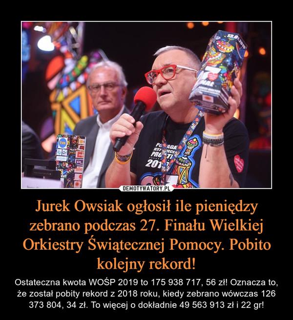Jurek Owsiak ogłosił ile pieniędzy zebrano podczas 27. Finału Wielkiej Orkiestry Świątecznej Pomocy. Pobito kolejny rekord! – Ostateczna kwota WOŚP 2019 to 175 938 717, 56 zł! Oznacza to, że został pobity rekord z 2018 roku, kiedy zebrano wówczas 126 373 804, 34 zł. To więcej o dokładnie 49 563 913 zł i 22 gr!