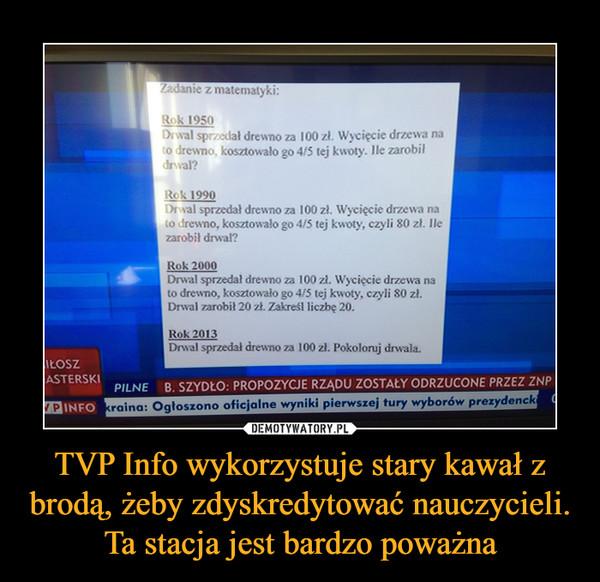 TVP Info wykorzystuje stary kawał z brodą, żeby zdyskredytować nauczycieli. Ta stacja jest bardzo poważna –