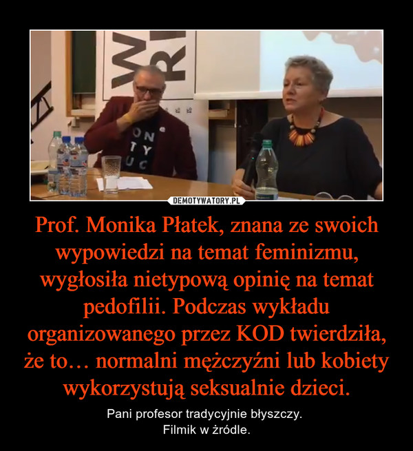 Prof. Monika Płatek, znana ze swoich wypowiedzi na temat feminizmu, wygłosiła nietypową opinię na temat pedofilii. Podczas wykładu organizowanego przez KOD twierdziła, że to… normalni mężczyźni lub kobiety wykorzystują seksualnie dzieci. – Pani profesor tradycyjnie błyszczy. Filmik w żródle.