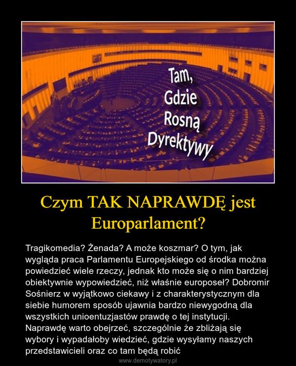 Czym TAK NAPRAWDĘ jest Europarlament? – Tragikomedia? Żenada? A może koszmar? O tym, jak wygląda praca Parlamentu Europejskiego od środka można powiedzieć wiele rzeczy, jednak kto może się o nim bardziej obiektywnie wypowiedzieć, niż właśnie europoseł? Dobromir Sośnierz w wyjątkowo ciekawy i z charakterystycznym dla siebie humorem sposób ujawnia bardzo niewygodną dla wszystkich unioentuzjastów prawdę o tej instytucji. Naprawdę warto obejrzeć, szczególnie że zbliżają się wybory i wypadałoby wiedzieć, gdzie wysyłamy naszych przedstawicieli oraz co tam będą robić
