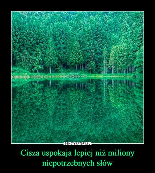 Cisza uspokaja lepiej niż miliony niepotrzebnych słów