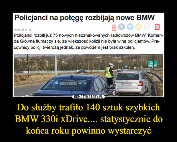 Do służby trafiło 140 sztuk szybkich BMW 330i xDrive.... statystycznie do końca roku powinno wystarczyć –