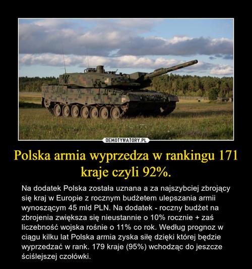 Polska armia wyprzedza w rankingu 171 kraje czyli 92%.