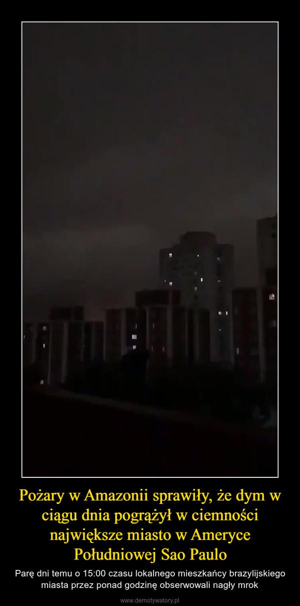 Pożary w Amazonii sprawiły, że dym w ciągu dnia pogrążył w ciemności największe miasto w Ameryce Południowej Sao Paulo – Parę dni temu o 15:00 czasu lokalnego mieszkańcy brazylijskiego miasta przez ponad godzinę obserwowali nagły mrok
