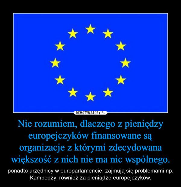 Nie rozumiem, dlaczego z pieniędzy europejczyków finansowane są organizacje z którymi zdecydowana większość z nich nie ma nic wspólnego. – ponadto urzędnicy w europarlamencie, zajmują się problemami np. Kambodży, również za pieniądze europejczyków.