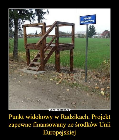 Punkt widokowy w Radzikach. Projekt zapewne finansowany ze środków Unii Europejskiej