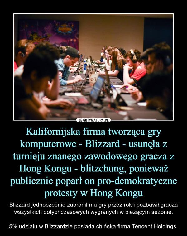 Kalifornijska firma tworząca gry komputerowe - Blizzard - usunęła z turnieju znanego zawodowego gracza z Hong Kongu - blitzchung, ponieważ publicznie poparł on pro-demokratyczne protesty w Hong Kongu – Blizzard jednocześnie zabronił mu gry przez rok i pozbawił gracza wszystkich dotychczasowych wygranych w bieżącym sezonie.5% udziału w Blizzardzie posiada chińska firma Tencent Holdings.