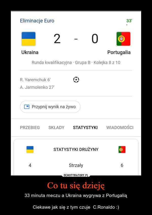 Co tu się dzieję – 33 minuta meczu a Ukraina wygrywa z PortugaliąCiekawe jak się z tym czuje  C.Ronaldo :)