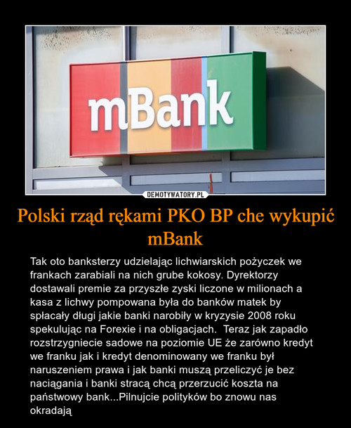Polski rząd rękami PKO BP che wykupić mBank