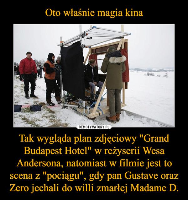 """Oto właśnie magia kina Tak wygląda plan zdjęciowy """"Grand Budapest Hotel"""" w reżyserii Wesa Andersona, natomiast w filmie jest to scena z """"pociągu"""", gdy pan Gustave oraz Zero jechali do willi zmarłej Madame D."""