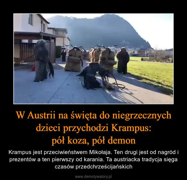W Austrii na święta do niegrzecznych dzieci przychodzi Krampus:pół koza, pół demon – Krampus jest przeciwieństwem Mikołaja. Ten drugi jest od nagród i prezentów a ten pierwszy od karania. Ta austriacka tradycja sięga czasów przedchrześcijańskich