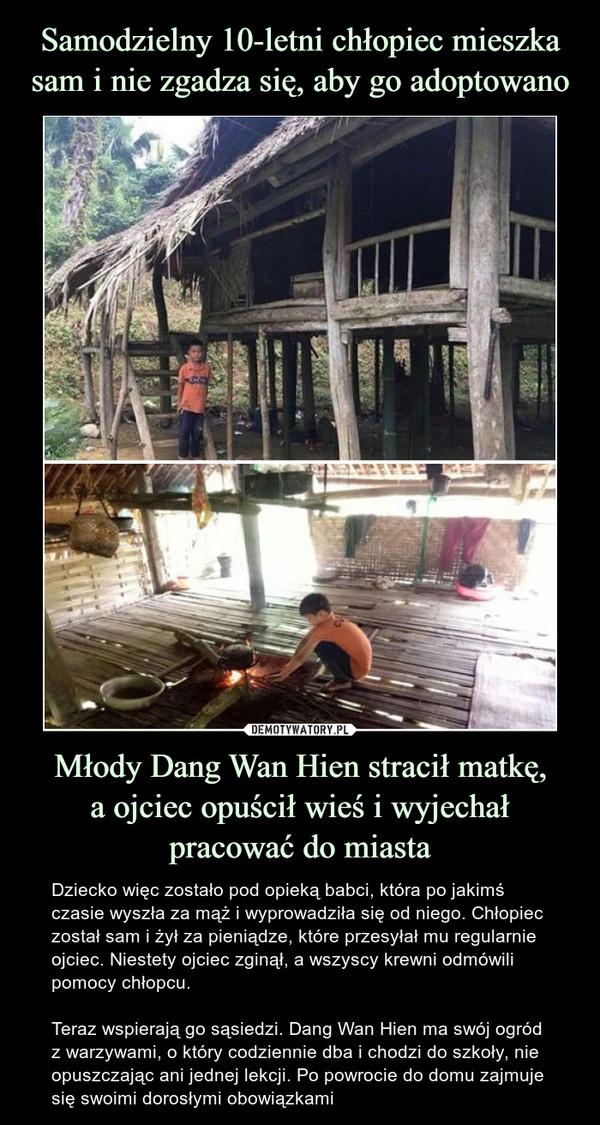 Młody Dang Wan Hien stracił matkę,a ojciec opuścił wieś i wyjechał pracować do miasta – Dziecko więc zostało pod opieką babci, która po jakimś czasie wyszła za mąż i wyprowadziła się od niego. Chłopiec został sam i żył za pieniądze, które przesyłał mu regularnie ojciec. Niestety ojciec zginął, a wszyscy krewni odmówili pomocy chłopcu.Teraz wspierają go sąsiedzi. Dang Wan Hien ma swój ogród z warzywami, o który codziennie dba i chodzi do szkoły, nie opuszczając ani jednej lekcji. Po powrocie do domu zajmuje się swoimi dorosłymi obowiązkami