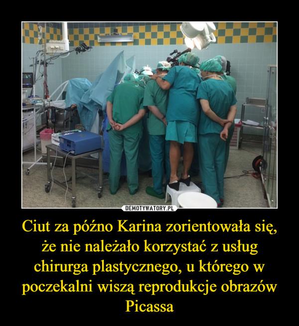 Ciut za późno Karina zorientowała się, że nie należało korzystać z usług chirurga plastycznego, u którego w poczekalni wiszą reprodukcje obrazów Picassa –