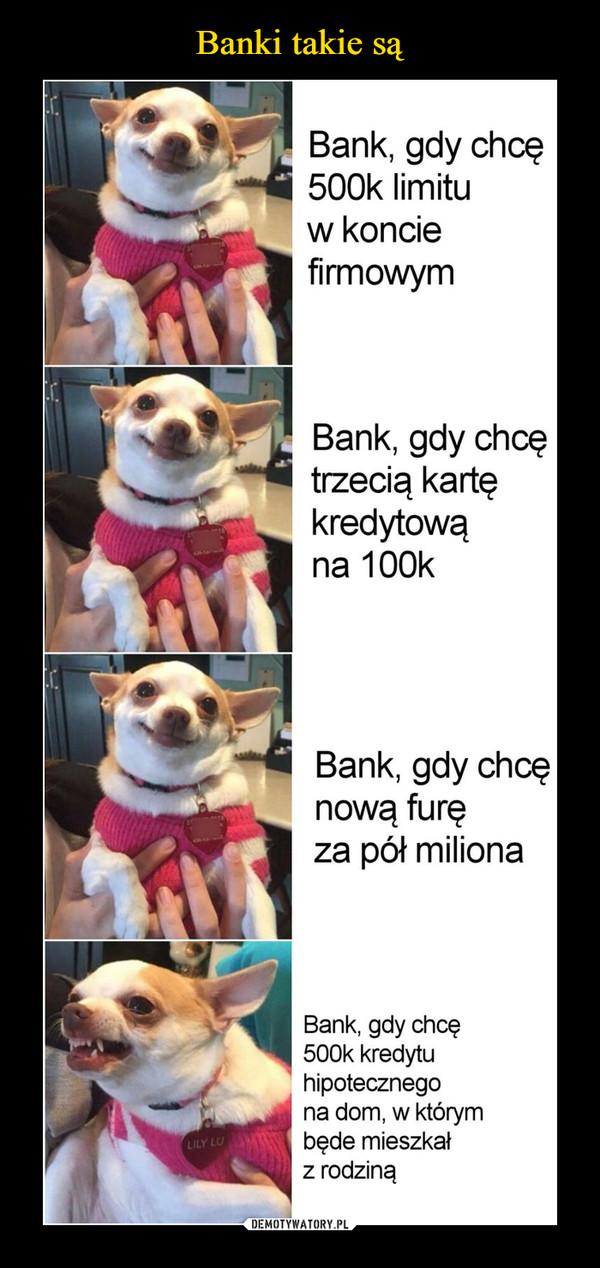 –  Bank, gdy chcę500k limituw konciefirmowymBank, gdy chcętrzecią kartękredytowąna 100kBank, gdy chcęnową furęza pół milionaBank, gdy chcę500k kredytuhipotecznegona dom, w którymbęde mieszkałz rodzinąLILY LU