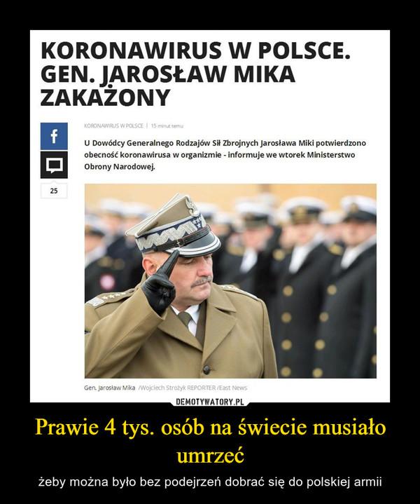 Prawie 4 tys. osób na świecie musiało umrzeć – żeby można było bez podejrzeń dobrać się do polskiej armii