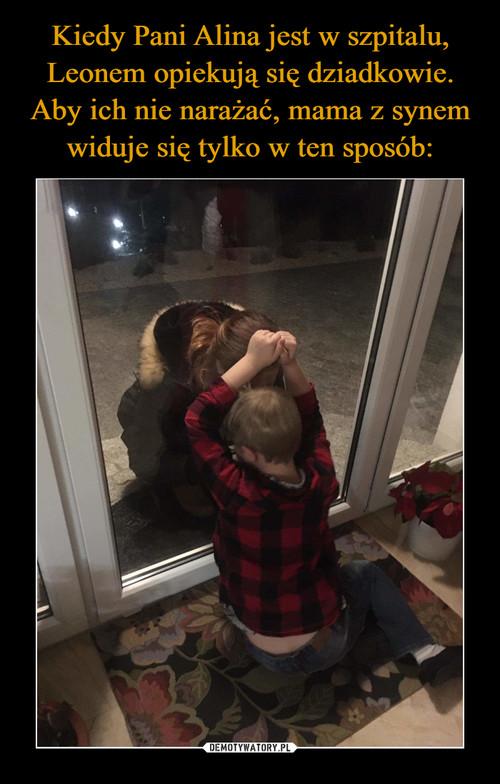 Kiedy Pani Alina jest w szpitalu, Leonem opiekują się dziadkowie. Aby ich nie narażać, mama z synem widuje się tylko w ten sposób: