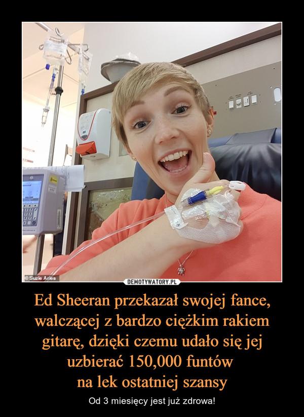 Ed Sheeran przekazał swojej fance, walczącej z bardzo ciężkim rakiem gitarę, dzięki czemu udało się jej uzbierać 150,000 funtów na lek ostatniej szansy – Od 3 miesięcy jest już zdrowa!
