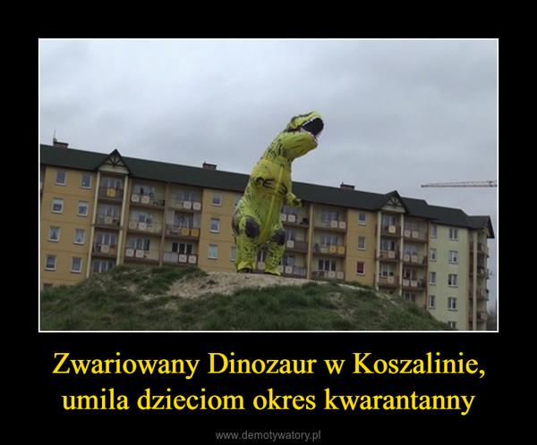 Zwariowany Dinozaur w Koszalinie, umila dzieciom okres kwarantanny –