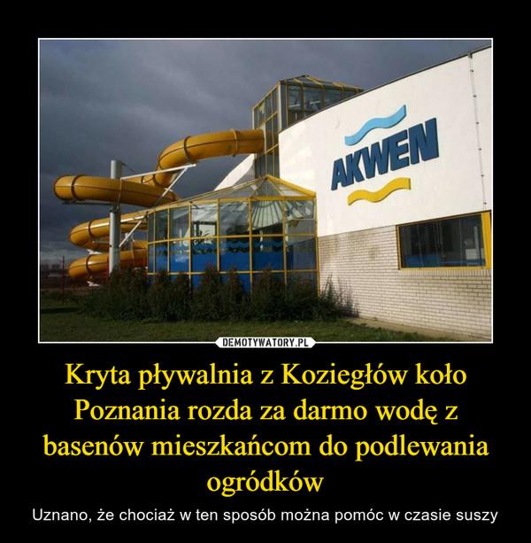 Kryta pływalnia z Koziegłów koło Poznania rozda za darmo wodę z basenów mieszkańcom do podlewania ogródków – Uznano, że chociaż w ten sposób można pomóc w czasie suszy