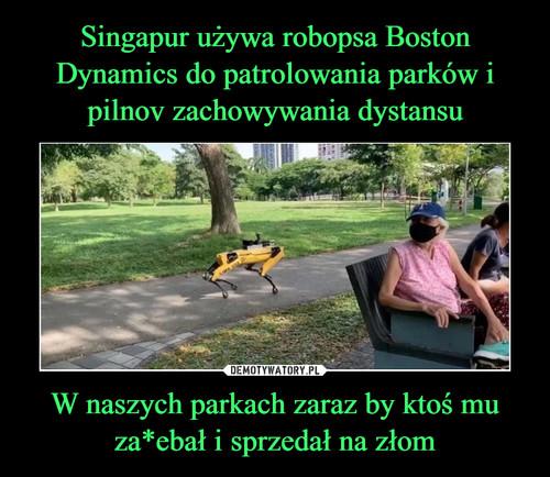 Singapur używa robopsa Boston Dynamics do patrolowania parków i pilnov zachowywania dystansu W naszych parkach zaraz by ktoś mu za*ebał i sprzedał na złom