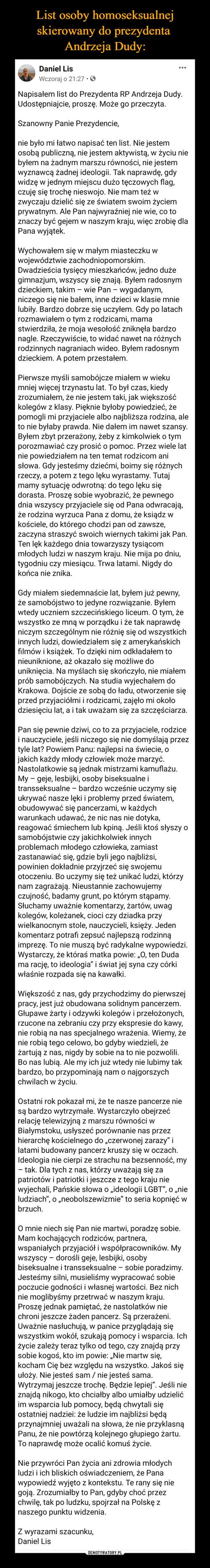 List osoby homoseksualnej skierowany do prezydenta  Andrzeja Dudy: