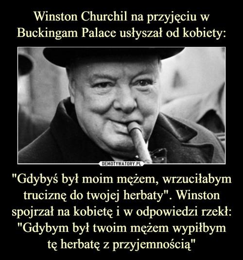 """Winston Churchil na przyjęciu w Buckingam Palace usłyszał od kobiety: """"Gdybyś był moim mężem, wrzuciłabym truciznę do twojej herbaty"""". Winston spojrzał na kobietę i w odpowiedzi rzekł: """"Gdybym był twoim mężem wypiłbym tę herbatę z przyjemnością"""""""