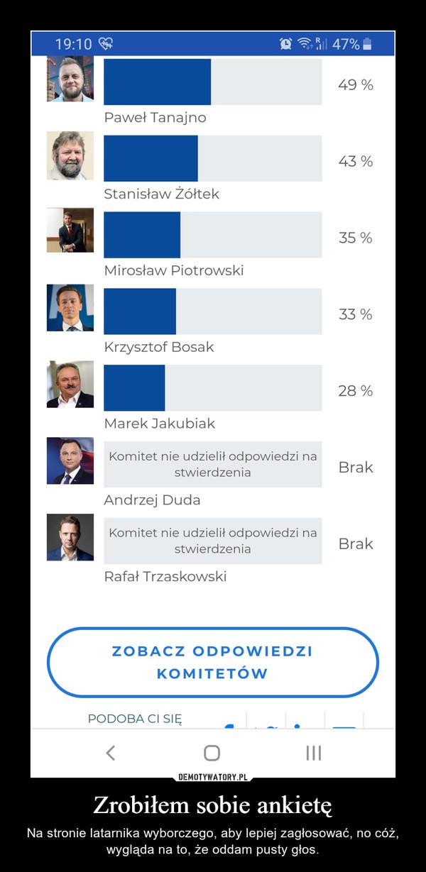 Zrobiłem sobie ankietę – Na stronie latarnika wyborczego, aby lepiej zagłosować, no cóż, wygląda na to, że oddam pusty głos.