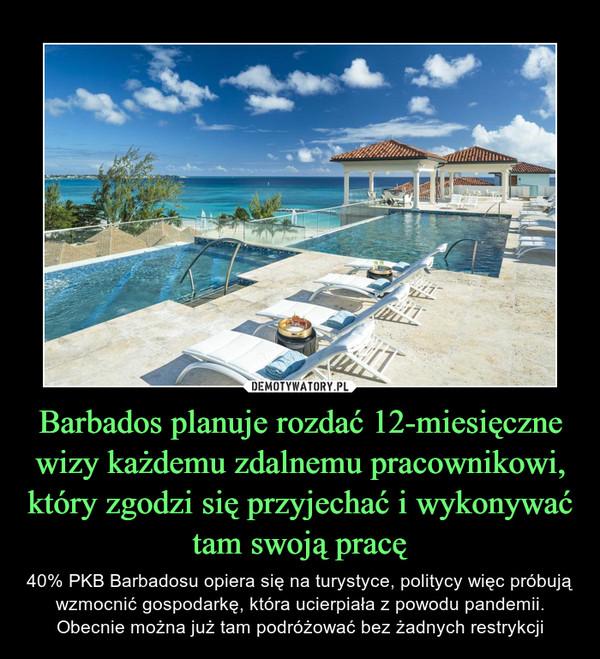 Barbados planuje rozdać 12-miesięczne wizy każdemu zdalnemu pracownikowi, który zgodzi się przyjechać i wykonywać tam swoją pracę – 40% PKB Barbadosu opiera się na turystyce, politycy więc próbują wzmocnić gospodarkę, która ucierpiała z powodu pandemii. Obecnie można już tam podróżować bez żadnych restrykcji