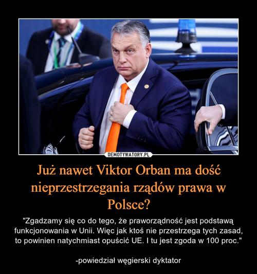 Już nawet Viktor Orban ma dość nieprzestrzegania rządów prawa w Polsce?