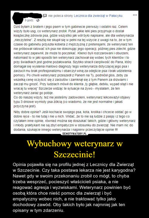 Wybuchowy weterynarz w Szczecinie!