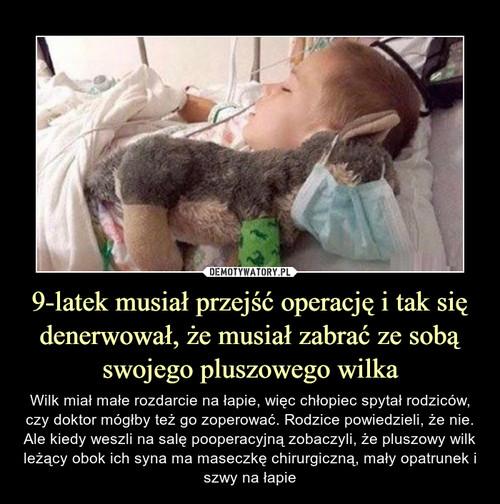 9-latek musiał przejść operację i tak się denerwował, że musiał zabrać ze sobą swojego pluszowego wilka
