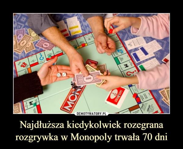Najdłuższa kiedykolwiek rozegrana rozgrywka w Monopoly trwała 70 dni –