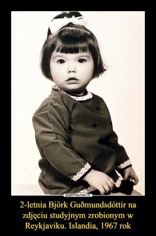 2-letnia Björk Guðmundsdóttir na zdjęciu studyjnym zrobionym w Reykjaviku. Islandia, 1967 rok