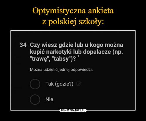 Optymistyczna ankieta z polskiej szkoły: