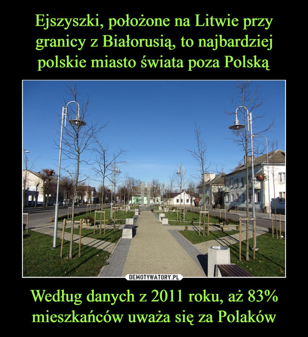 Według danych z 2011 roku, aż 83% mieszkańców uważa się za Polaków –