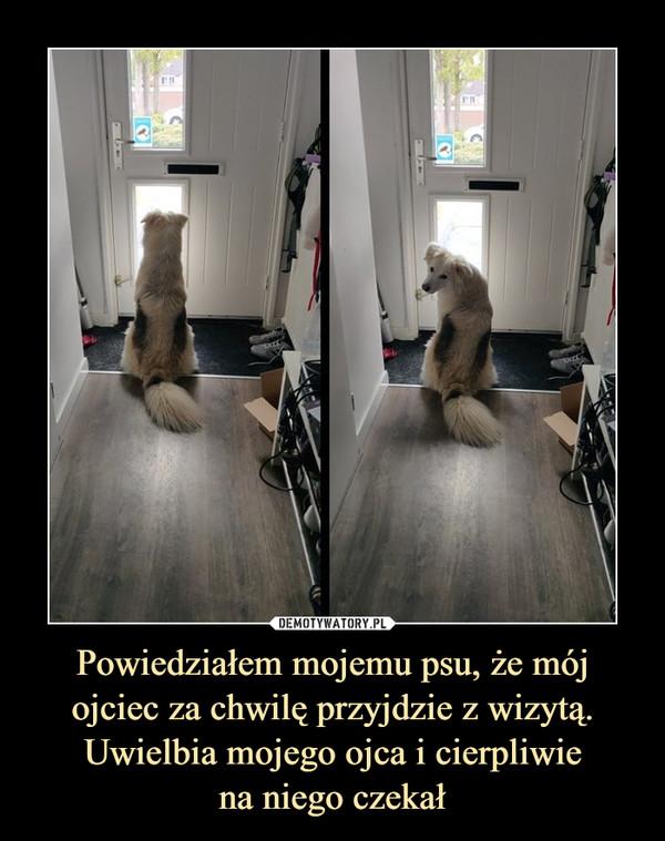 Powiedziałem mojemu psu, że mój ojciec za chwilę przyjdzie z wizytą. Uwielbia mojego ojca i cierpliwiena niego czekał –