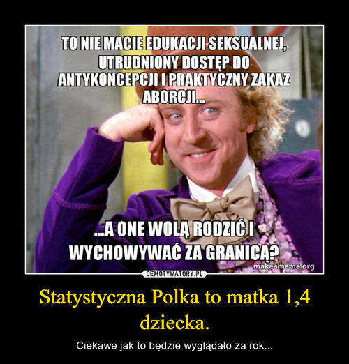 Statystyczna Polka to matka 1,4 dziecka.