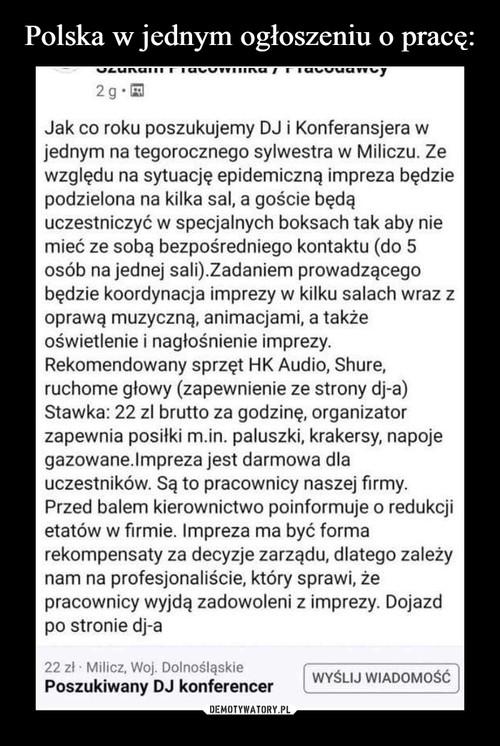 Polska w jednym ogłoszeniu o pracę: