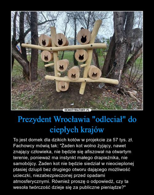 """Prezydent Wrocławia """"odleciał"""" do ciepłych krajów"""