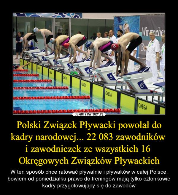 Polski Związek Pływacki powołał do kadry narodowej... 22 083 zawodników i zawodniczek ze wszystkich 16 Okręgowych Związków Pływackich – W ten sposób chce ratować pływalnie i pływaków w całej Polsce, bowiem od poniedziałku prawo do treningów mają tylko członkowie kadry przygotowujący się do zawodów