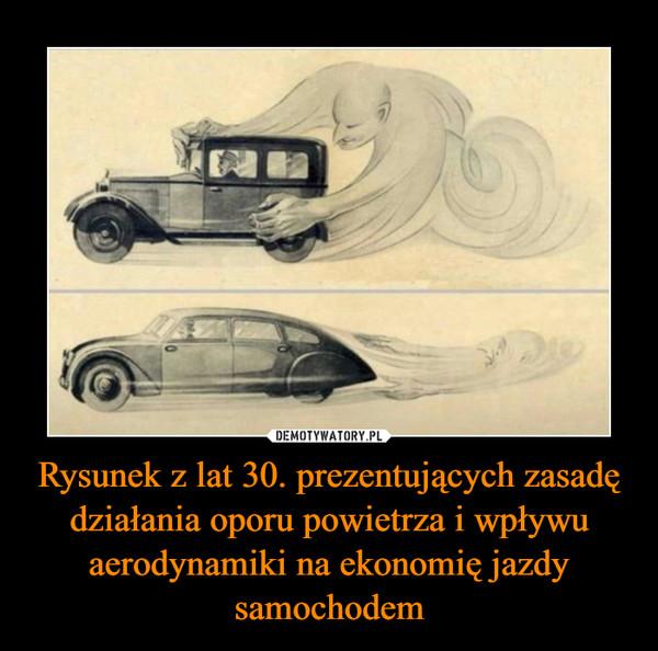 Rysunek z lat 30. prezentujących zasadę działania oporu powietrza i wpływu aerodynamiki na ekonomię jazdy samochodem –