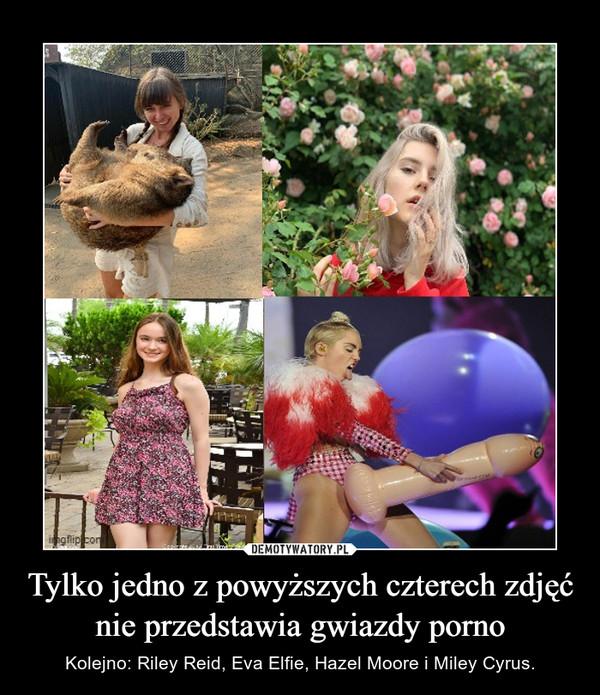 Tylko jedno z powyższych czterech zdjęć nie przedstawia gwiazdy porno – Kolejno: Riley Reid, Eva Elfie, Hazel Moore i Miley Cyrus.