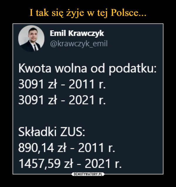 –  Emil Krawczyk @krawczyk_emil Kwota wolna od podatku: 3091 zł - 2011 r. 3091 zł - 2021 r. Składki ZUS: 890,14 zł - 2011 r. 1457,59 zł - 2021 r.