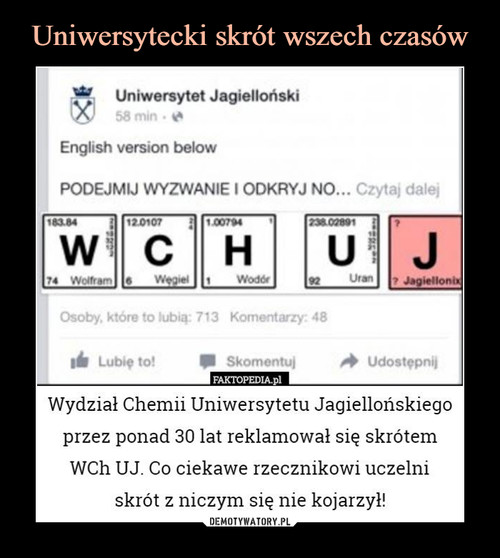 Uniwersytecki skrót wszech czasów