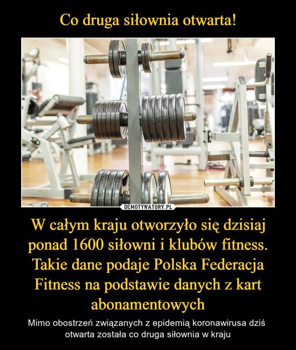 W całym kraju otworzyło się dzisiaj ponad 1600 siłowni i klubów fitness. Takie dane podaje Polska Federacja Fitness na podstawie danych z kart abonamentowych – Mimo obostrzeń związanych z epidemią koronawirusa dziś otwarta została co druga siłownia w kraju