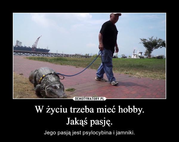 W życiu trzeba mieć hobby.Jakąś pasję. – Jego pasją jest psylocybina i jamniki.