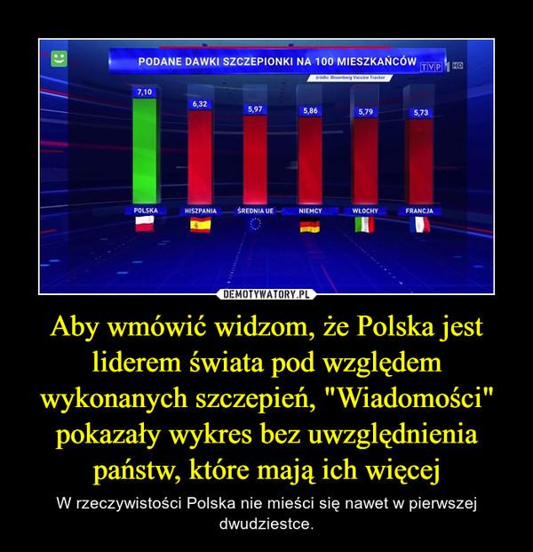 """Aby wmówić widzom, że Polska jest liderem świata pod względem wykonanych szczepień, """"Wiadomości"""" pokazały wykres bez uwzględnienia państw, które mają ich więcej – W rzeczywistości Polska nie mieści się nawet w pierwszej dwudziestce."""