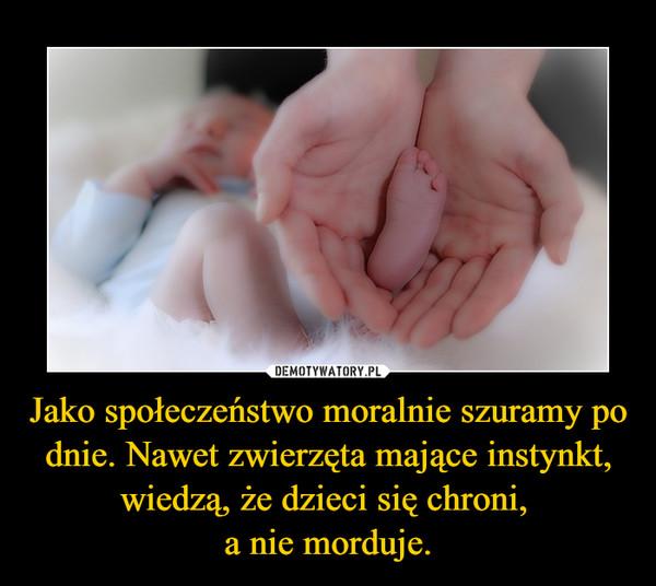 Jako społeczeństwo moralnie szuramy po dnie. Nawet zwierzęta mające instynkt, wiedzą, że dzieci się chroni, a nie morduje. –