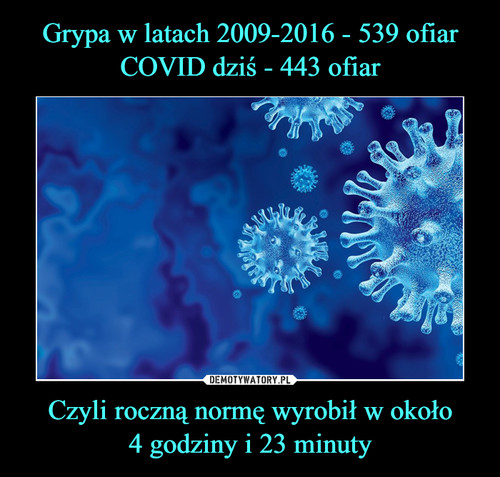 Grypa w latach 2009-2016 - 539 ofiar COVID dziś - 443 ofiar Czyli roczną normę wyrobił w około 4 godziny i 23 minuty