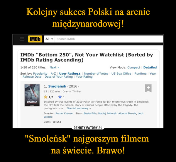 """""""Smoleńsk"""" najgorszym filmem na świecie. Brawo! –"""